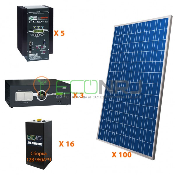 Солнечная электростанция 175 кВт*ч в сутки HYBRID PRO Панцирь