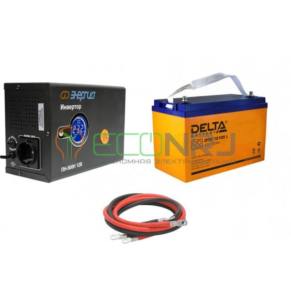 Инвертор (ИБП) Энергия ПН-500Н + Аккумуляторная батарея Delta DTM 12100 L