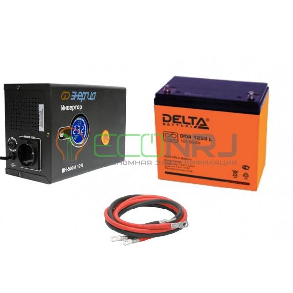 Инвертор (ИБП) Энергия ПН-500Н + Аккумуляторная батарея Delta DTM 1255 L