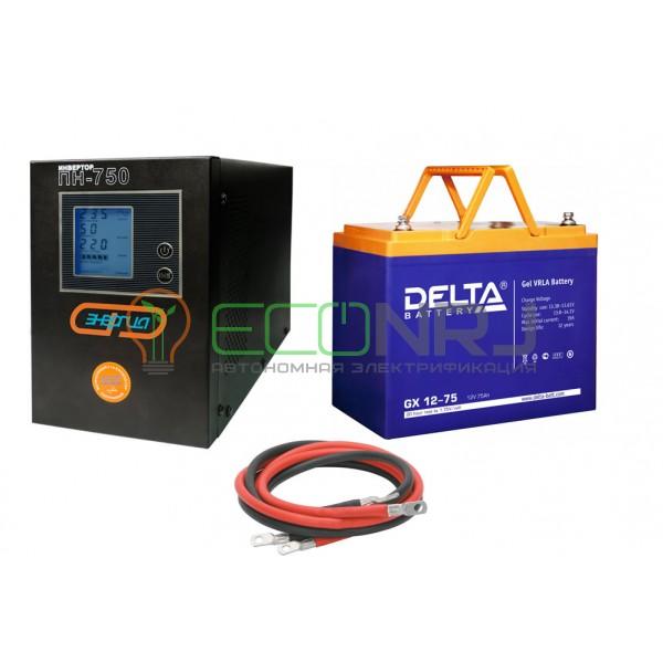 Инвертор (ИБП) Энергия ПН-750 + Аккумуляторная батарея Delta GX 12-75